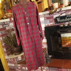 L.L.BEAN RED PLAID WOMENS NIGHTGOWN S